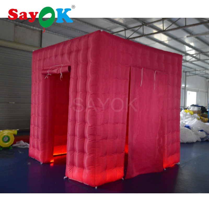 Customized Color Pink Photo Booth Shell Inflatable Photo Booth Enclosure Portable Tent Kiosk for Wedding Party