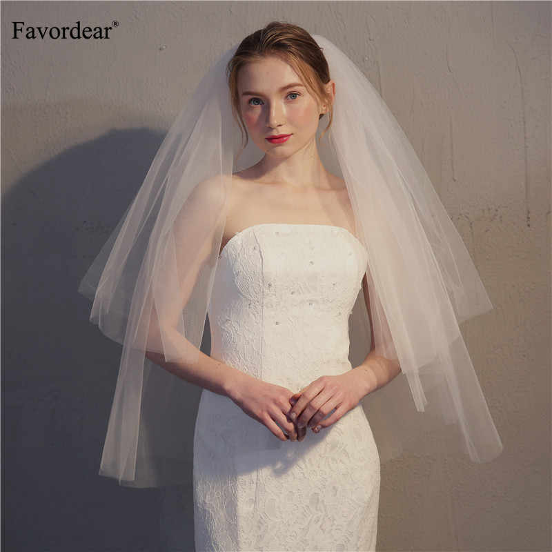 Favordear Simple 2 Tier Wedding Veil with Blush Ivory/white Cut Edge Fingertip Length Bridal Veil with Comb Wedding Accessories