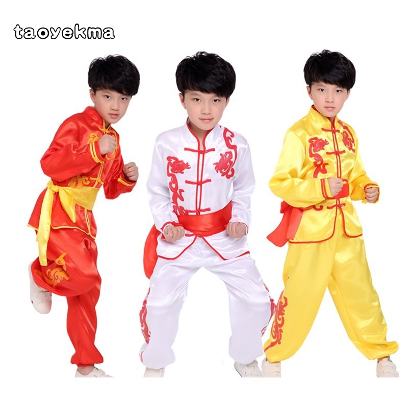 Taoyekma 2019 Summer Kids&Adult Embroidery Flower Martial Arts Kung Fu Uniforms Children Wushu Clothing Tai Chi Suits