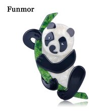 FUNMOR Handmade Acrylic Animal Style Brooches For Women Kids Gift Coat Dress Adornment Panda Penguin Dog Hedgehog Brooch Badge(China)