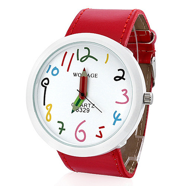 2018 Fashion Cute WoMaGe Leather Straps Casual Watch For Children Big Dial Child