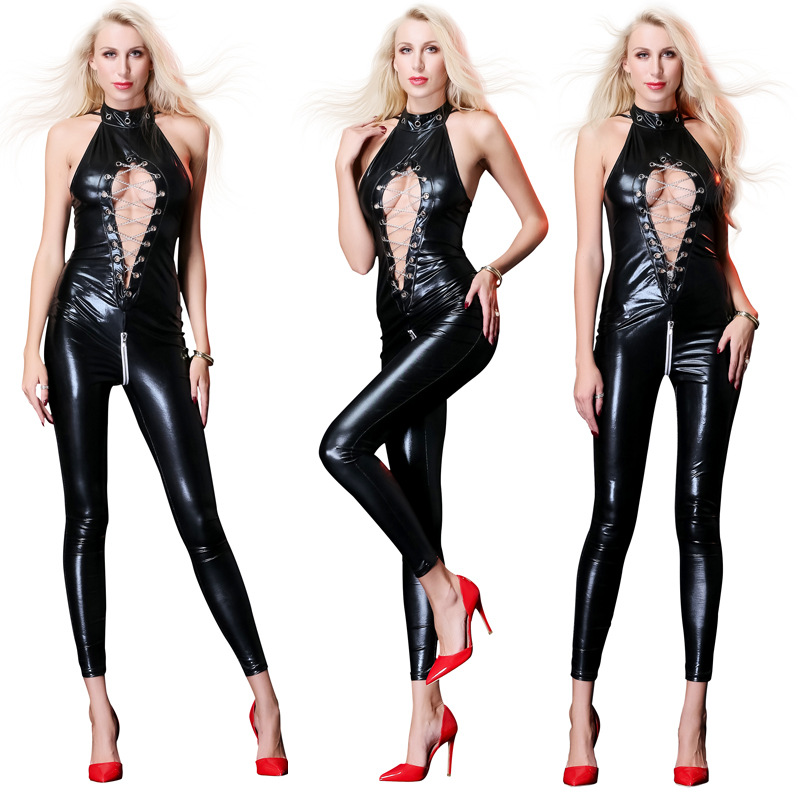 Buy ENGAYI Brand Women Faux Leather Latex Dress Sexy Costumes Erotic Lingerie Underwear Babydolls Nightwear Porn Dresses A6750