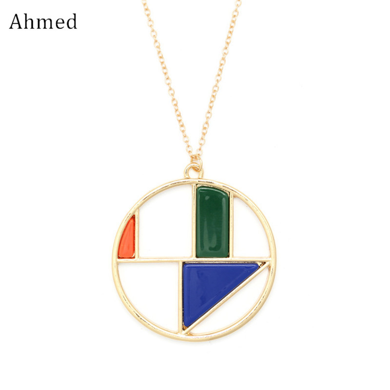 Ahmed New Design Geometry Acetate Plate Hollow Round Pendant Long Chain Necklace for Women Fashion Statement Sweater Jewelry
