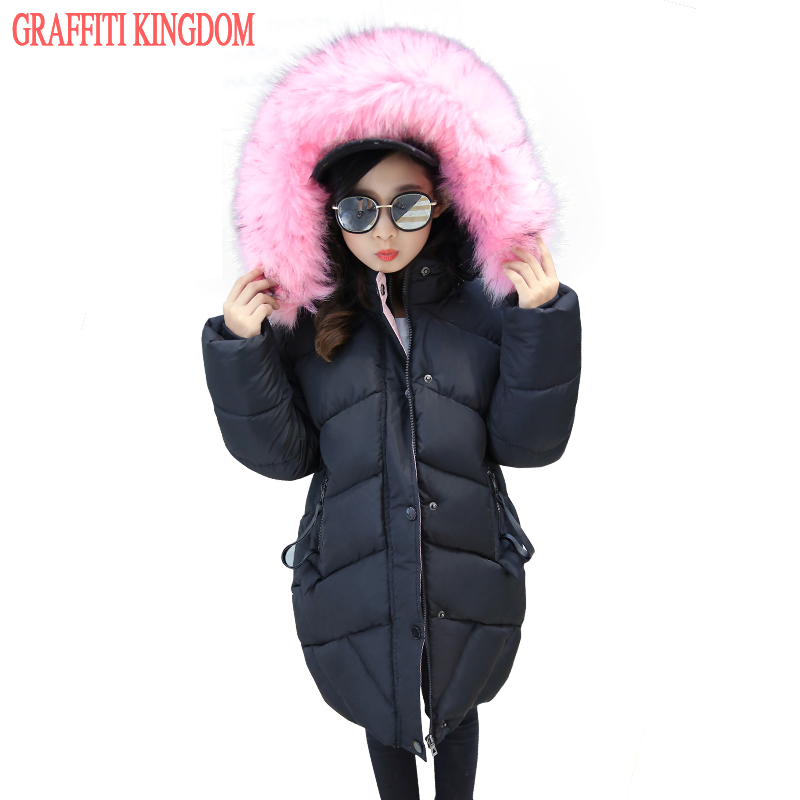 New Arrival 2017 girls winter coat warm thick children clothing long parka outerwear big girls down coat padded jacket boutique