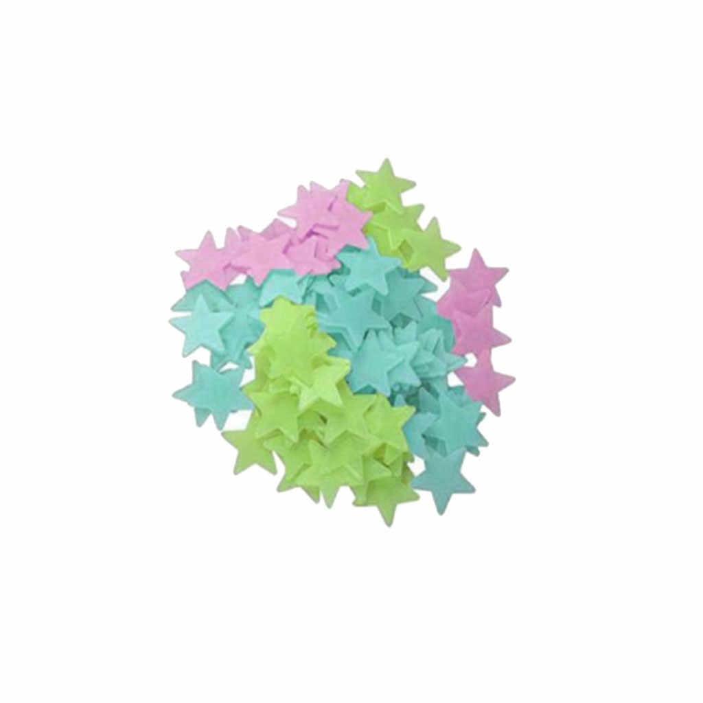 200 pçs/saco 3 centímetros Brinquedos Luminous Brilham no Escuro Adesivo Estrela Quarto Sofá Brinquedo Pintura Fluorescente Adesivos de PVC para quarto dos miúdos