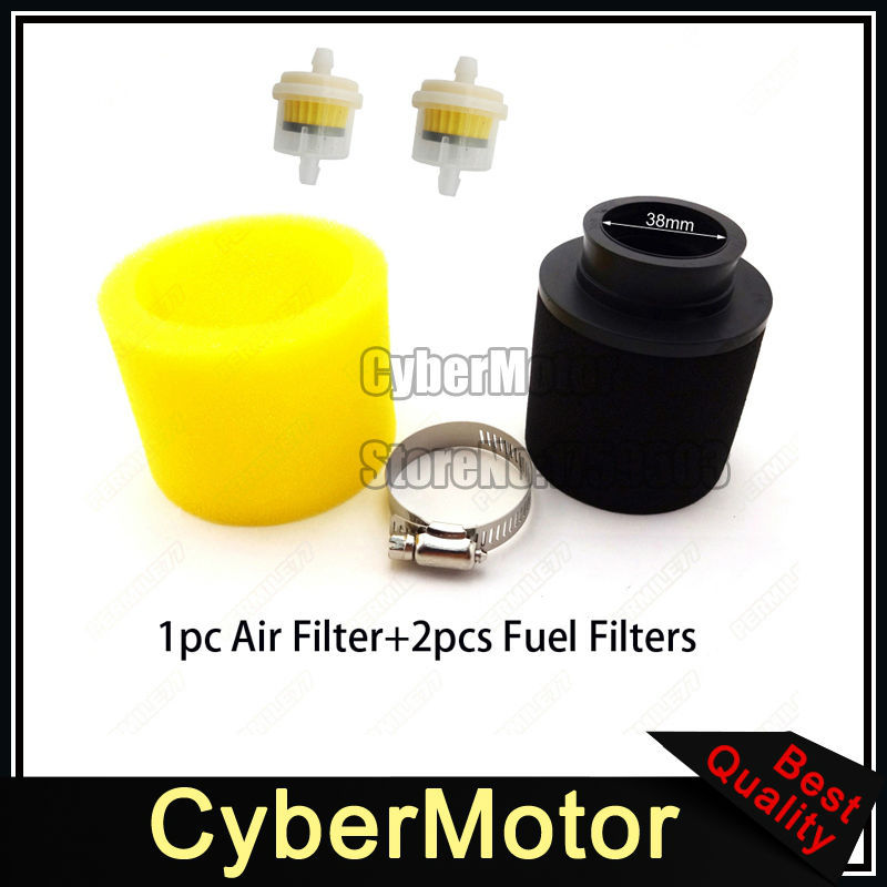 atv yellow 38mm air filter fuel clearner for 110cc 125cc. Black Bedroom Furniture Sets. Home Design Ideas