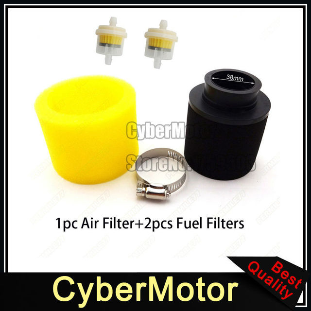 atv yellow 38mm air filter fuel clearner for 110cc 125cc motorcycle pit  monkey dirt bike go kart scooter moped quad 4 wheeler