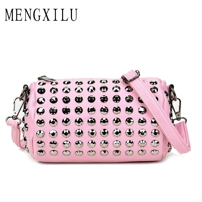 MENGXILU High Quality PU Leather Women Crossbody Bags Fashion Color Rivet Design Women Shoulder Bags Shoulder Strap Ladies Bag
