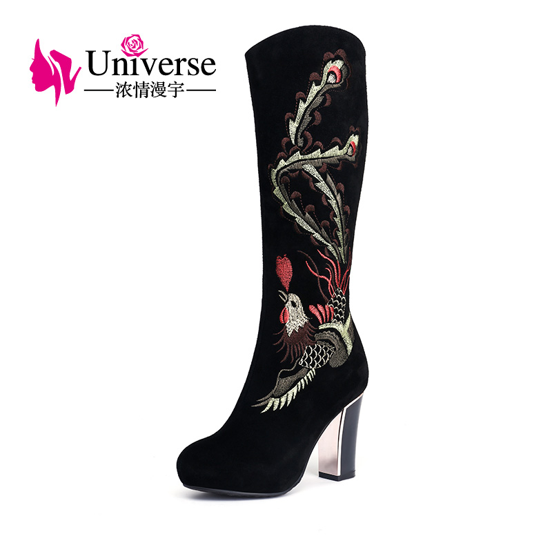 Universe women boots Hot winter Knee high boots Newest fashion ladies embroider boots shoes women  E322