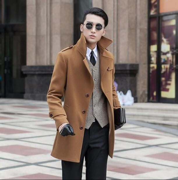 Khaki medium-long wool coat men jackets and coats mens slim wool winter single breasted trench coats teenager plus size S - 9XL