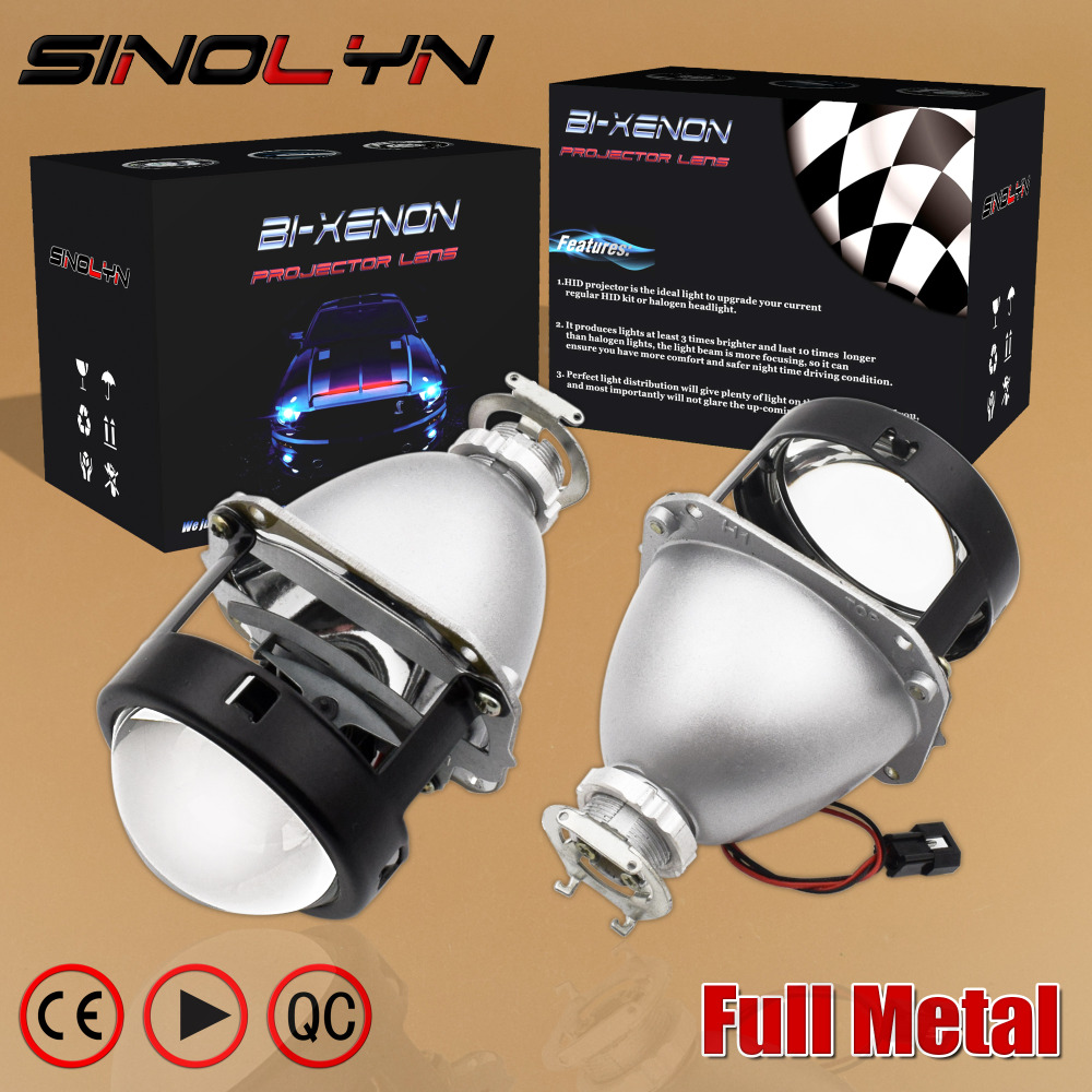 цена SINOLYN Upgrade Full Metal 2.5 HID Bi xenon Lens Projector Headlight Headlamp Lenses Glasses H4 H7,Use H1 Xenon Bulb Car Styling