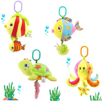 Soft Stuffed Sea Animal Plush Toy Baby Rattles Cartoon Car Hanging Strollers Musical Toy Octopus Turtles