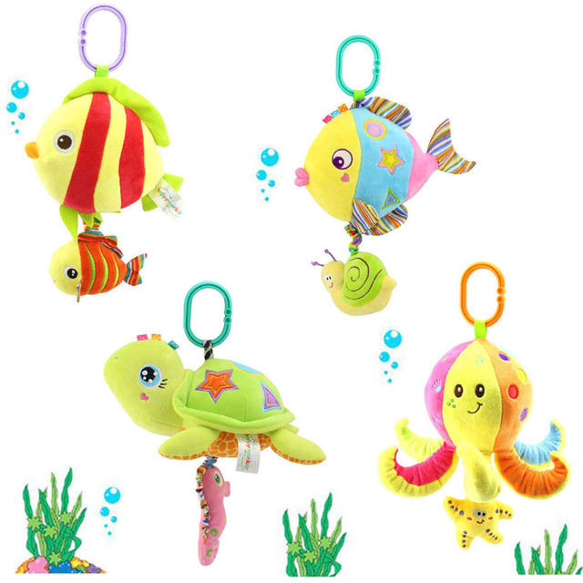 soft stuffed sea animal plush Toy baby rattles cartoon car hanging strollers musical toy octopus turtles tortoises gift