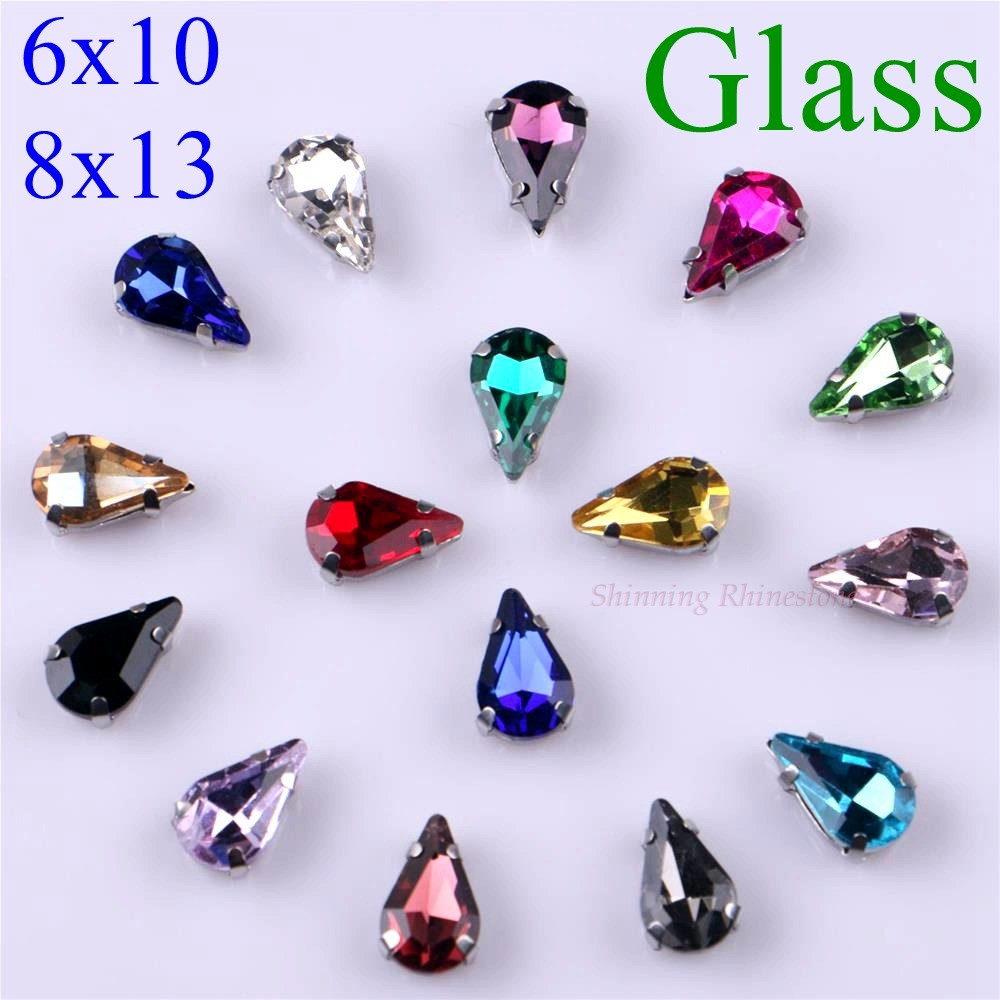 Narrow Teardrop Shape Glass Rhinestones With Claw Sew On Crystal Stone Strass Diamond Metal Base Buckle 20 Pcs/pack