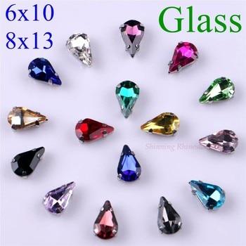Narrow Teardrop Shape Glass Rhinestones With Claw Sew On Crystal Stone Strass Diamond Metal Base Buckle 20 pcs/pack