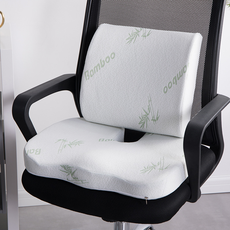 Seat-Cushion Chair-Pad Waist-Support-Set Memory-Foam Bamboo-Fiber Home Office Rebound