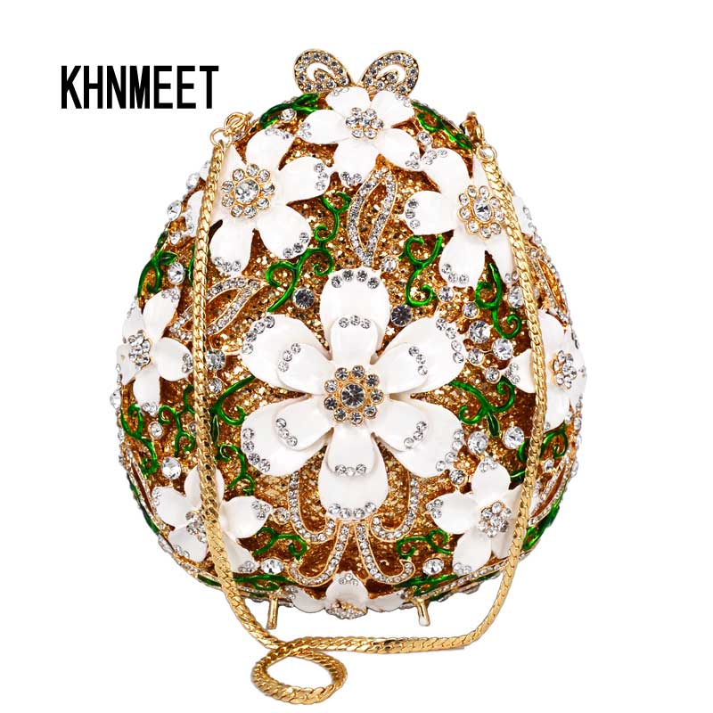 Najnowszy luksusowe kryształ kwiat biały łańcuch torba wieczór jaj kształt łańcuch dni sprzęgła torebki damskie rhinestone Prom torebka SC629 w Torby z uchwytem od Bagaże i torby na  Grupa 1