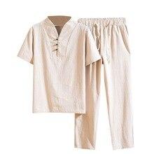 ADISPUTENT Мужская Мода Лето Китайский Стиль Хлопок Белье Сплошной Цвет Комплект 2 Шт. Стенд Воротни
