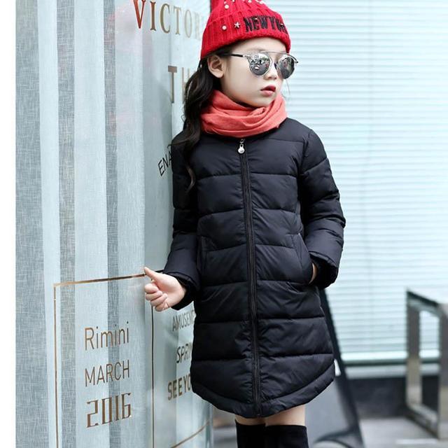 Crianças Meninas Jaqueta de Inverno Quente Down & Parkas Crianças Casaco Outerwear Longo Casaco para as meninas 2017