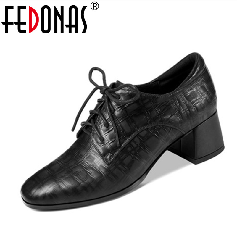 FEDONAS New Gladiator Women's Genuine Leather Lace Up Shoes Thick High Heels Lady Casual Shoes Women Punk New Pumps Large Size new genuine leather superstar solid thick heel zipper gladiator women pumps pointed toe office lady nude runway casual shoes l88