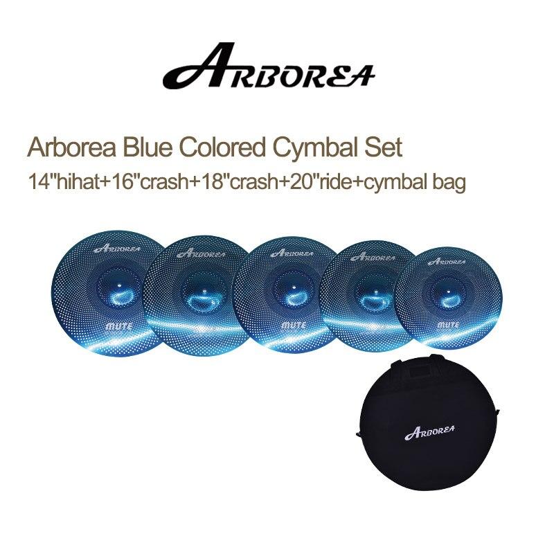 Распродажа! Начального уровня Arborea Буле Цветной Mute Набор тарелок: 14 hihat + 16 crash + 18 crash + 20 ездить + тарелки bag