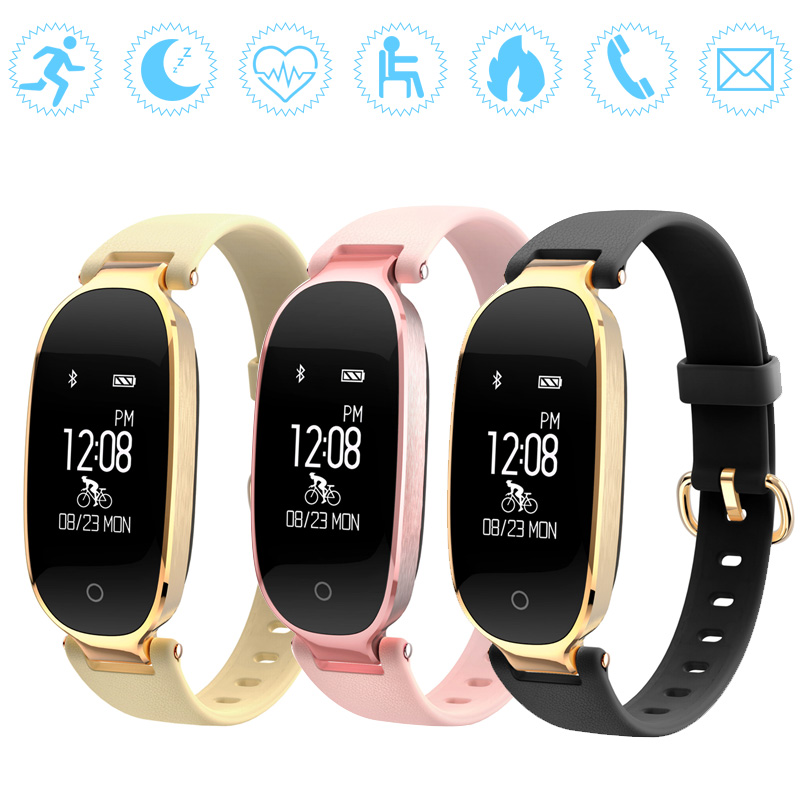 GZDL Fashion Women IP67 Bluetooth Smart Wristband S3 Heart Rate Monitor Fitness Tracking Reminder Pedometer Bracelets WT8174
