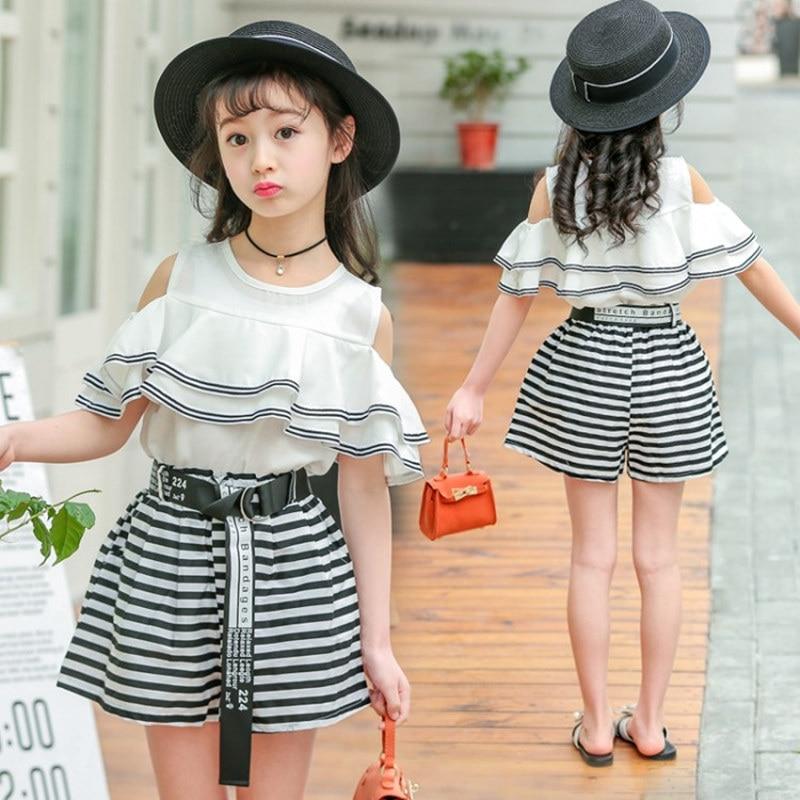4a7a5c5bc5 Girls Fashion Clothes Flouncing Sleeve Falbala Shirt Blouse Top with  Ruffles + Striped Shorts 2Pcs Fancy