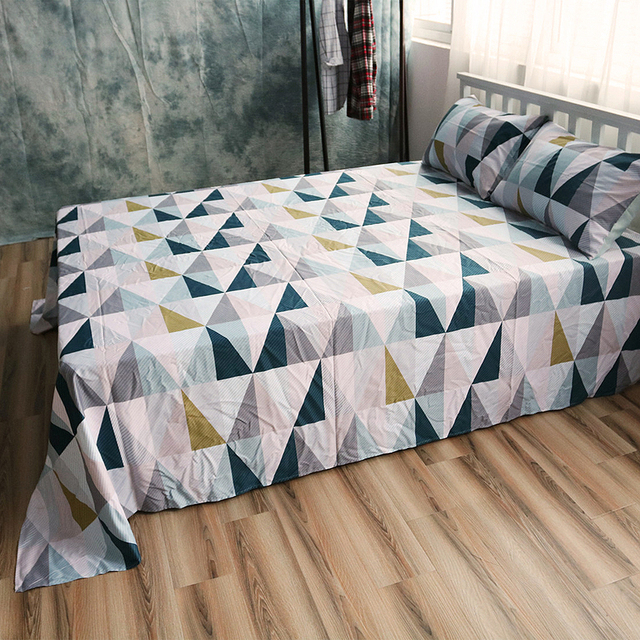 Great Cotton Bed Linen Custom Size Geometric Sheet Sets Cotton Flat Sheet Queen Fitted  Sheet Twin Pillow