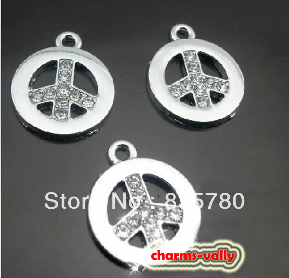 50PCS Hang Pendent-------Clear Rhinestone Peace Sign Tags