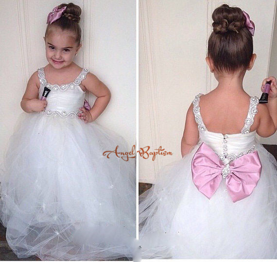 Spaghetti straps Rhinestones Crystals Puffy Tulle first communion Ball Gown With Bow Pearls Flower Girl Dress For Wedding Party silver gray purple pink blue ball gown tutu soft tulle puffy flower girl dress baby 1 year birthday dress with spaghetti straps