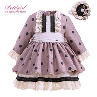 Pettigirl Dot Dress For Girls Long Sleeve With Handmade Hairbands Autumn Bontique Children Clothing Cotton Hot