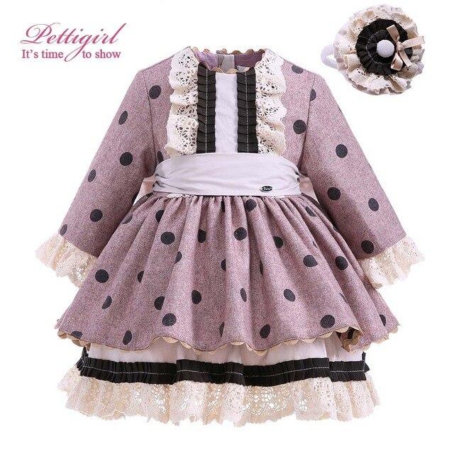 Pettigirl Dot Dress For Girls Long Sleeve With Handmade Hairbands Autumn Bontique Children Clothing Cotton Hot Selling G-DMGD910