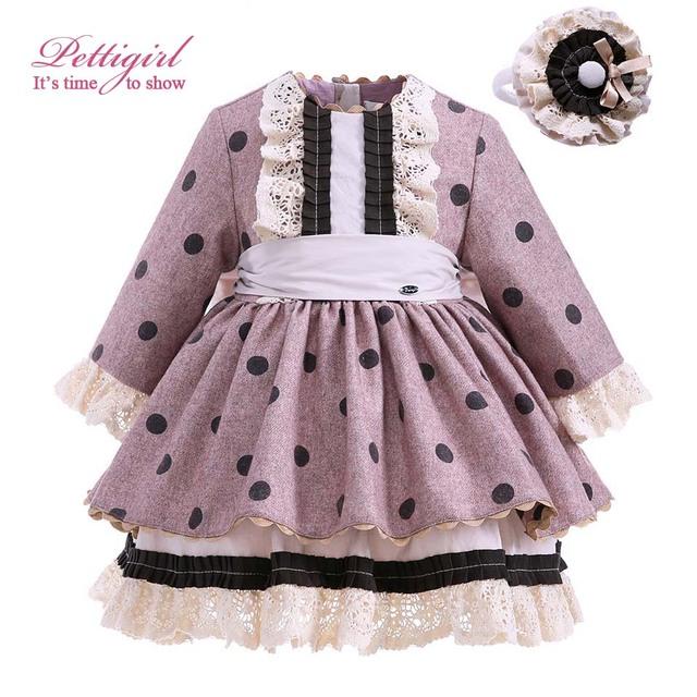 Pettigirl dot dress for girls bontique niños ropa de algodón de manga larga con vinchas hechas a mano otoño venta caliente g-dmgd910