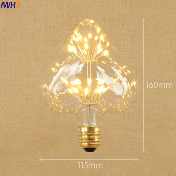 IWHD Heart Lampada Edison Lamp Bulb Decorative E27 220V 3W LED Bombillas Vintage Light Bulb St64 G95 G80 St58 T10 T185 T30
