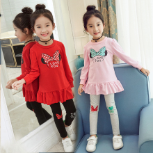 Anlencool High Quality Fashion Girls Clothing Sets Red Mickey Minnie Hoodies+Skirt 2pcs Autumn Winter Baby New Kids Clothes Set