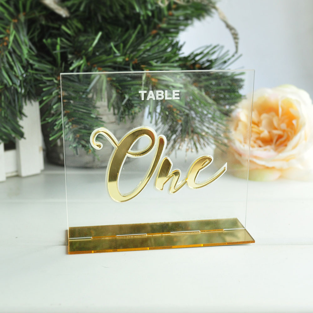 Personalized Wedding Table Numbers Calligraphy Gold Mirror Clear Acrylic Wedding Signs Number Holders Engraved Tag