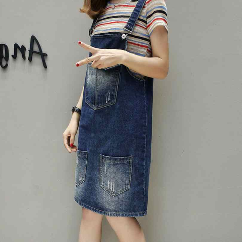 ... 2018 Summer Women Plus size 5XL fat MM Denim Dress Denim Sundress  Casual Loose Overalls Female ... cf005b9087eb