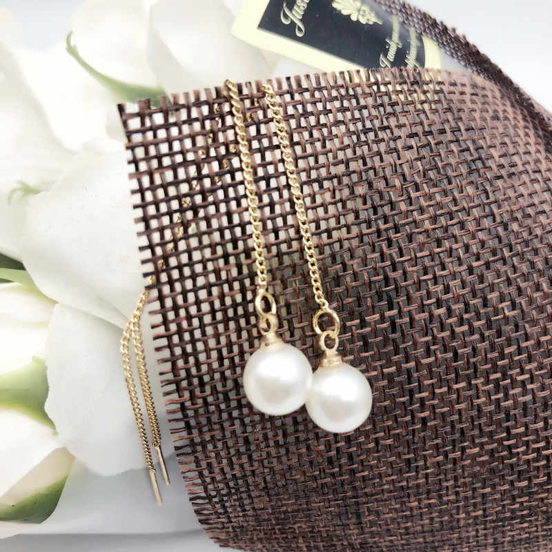 2019 Pearl Earrings Genuine Natural Freshwater Pearl gold Earrings Pearl Jewelry For woman Wedding Gift