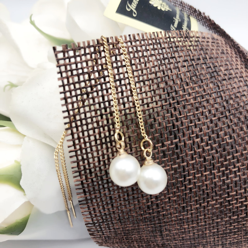 2019 Pearl Earrings Genuine Natural Freshwater Pearl Gold Earrings Pearl Jewelry For Woman Wedding Gift