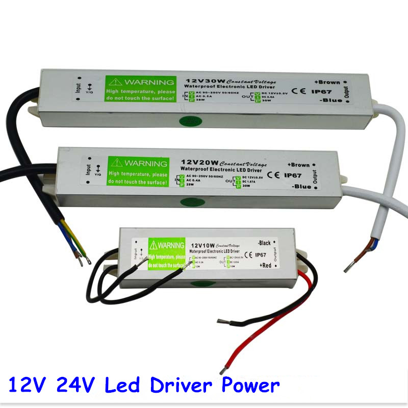 DC 12V 24V 30W Electronic LED Driver, IP67 Waterproof