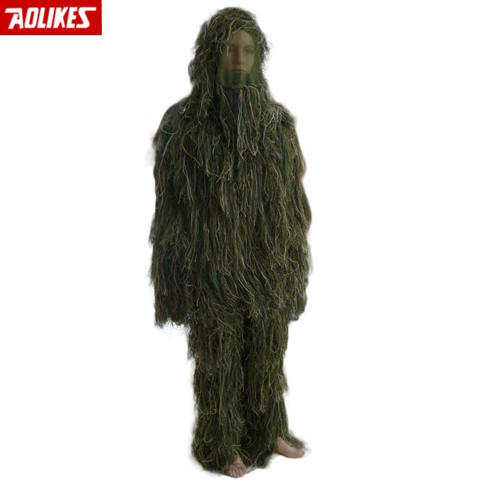 Military Adults Woodland Camo/Camouflage Hunting 3D Leaf Ghillie Suits HOT SALE 5 pieces new ghillie suit camo woodland camouflage forest hunting 3d