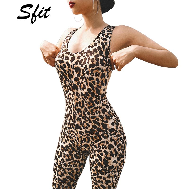Woman Sleeveless Jumpsuit Leopard Printed Back Cross Hollow out Long Bodysuit