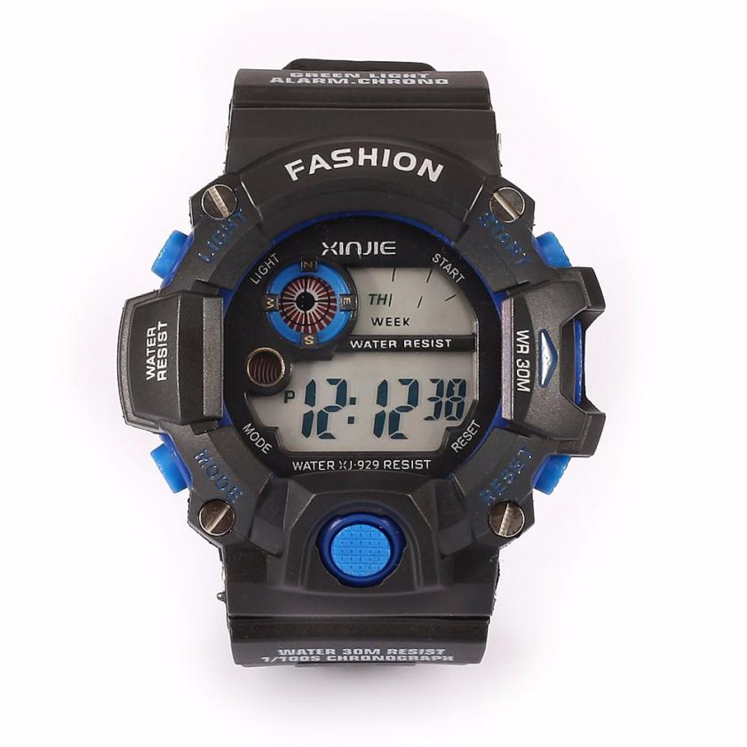 Hot 2017Superior New Fashion Men's High Quality Quartz Digital Sports Watches LED Military Silicone Waterproof Wrist Watch Apr21