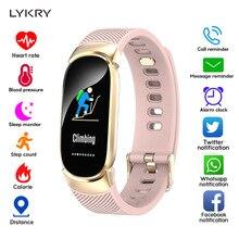 LYKRY женские Смарт-часы спортивные Смарт-часы с шагомером пульсометр кровяное давление кислородный монитор фитнес-трекер Будильник Напоминание