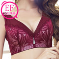 Red wine bra 100F gather female 95e XL lace thin chest small underwear sutian large cup size bra plus size lingerie bralette