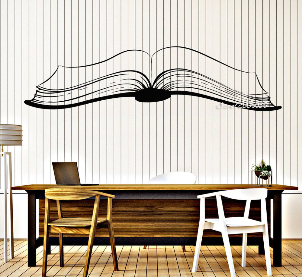 Home Decor Wall Stickers Books Vinyl Decal Quote Book Bookstore Library Room Wall Stickers Mural Removable Wallpaper For Coffee Shop Classroom Decor L590