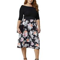 Plus Size Women Floral Printed Dress Stylish Splicing Mid Calf Dresses O Neck Half Sleeve Casual