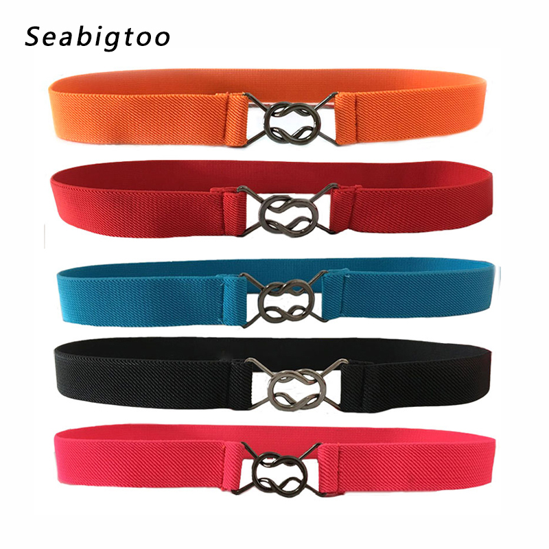 Elastic   belts   for women vintage retro stretch waistband for dresses metal bow butterfly buckle fashion elegant Waist   Belts   hot