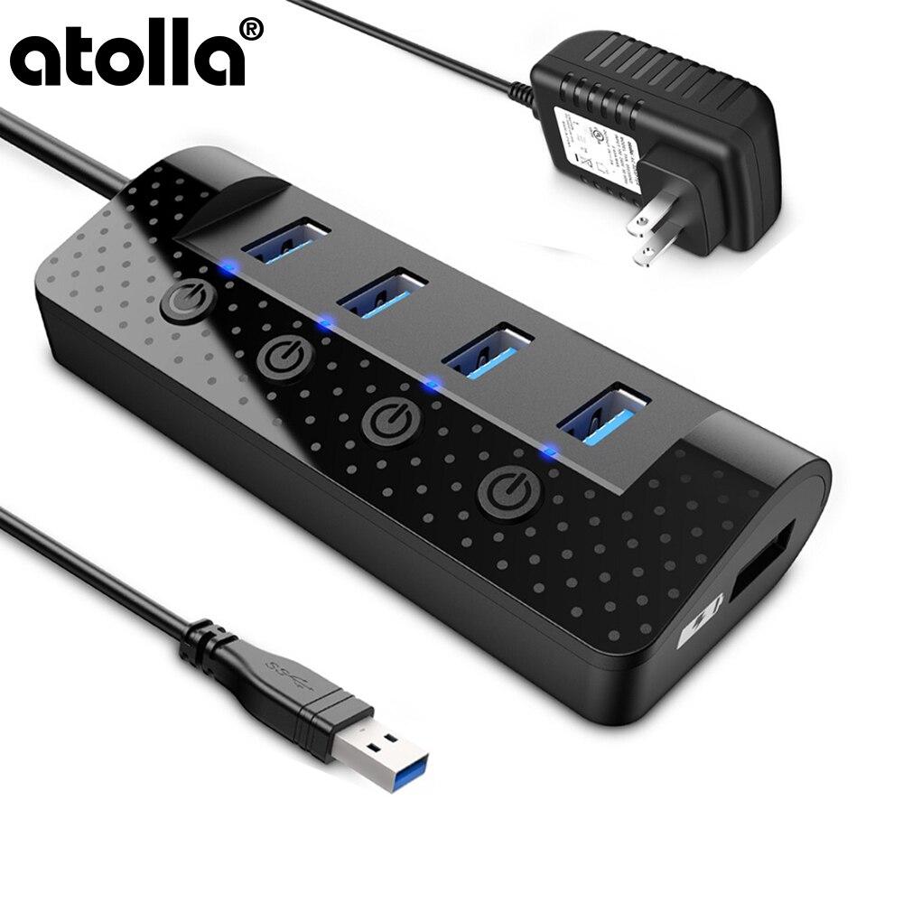 Atolla Dados USB 3.0 Portas USB 3.0 hub Splitter com 4 e 1 USB Porto De Carregamento Inteligente, interruptores de Alimentação individuais e Adaptador De Energia