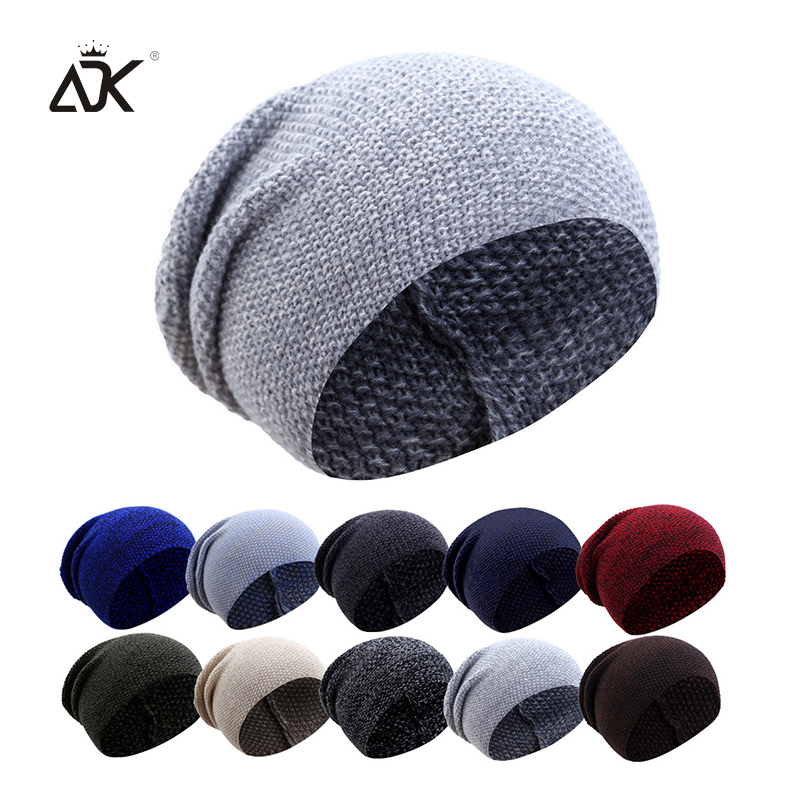 Plain   Skullies     Beanies   Men Acrylic Casual Ski Hat For Boy Spring Autumn Slouchy Cap Women's Solid Unisex Soft Knitted Hat Female